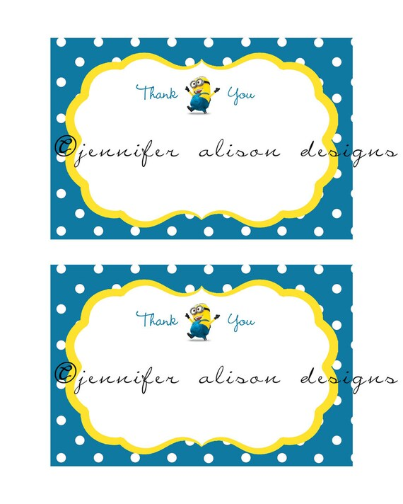 INSTANT DOWNLOAD / Despicable Me Minon Printable Thank you Cards 4x6 inch PDF file