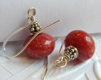 Red Jade Rondell Earrings on French Hooks