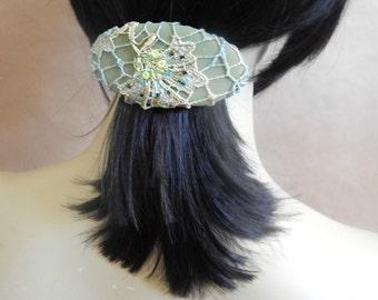 Lichen barrette, green barrette, hair barrette, beaded barrette, fabric barrette, oval barrette, hair accessory, fashion accessory