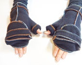 Black Convertible Xmittens Mittens, Multicolored thread, Fingerless Gloves, Recycled Fleece, size MEDIUM