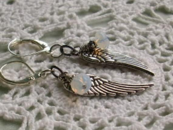 Antiqued Silver Angel Wing Earrings with Opalite