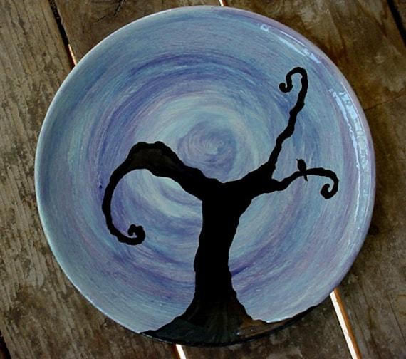 Full moon tree dinner plate kiln fired pottery made to order black bird trees moon