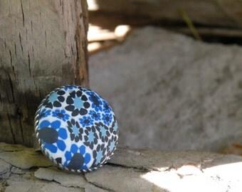 Adjustable Round Blue Mini Flowers Ring