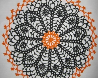 Crochet doily for Halloween Spider Web Picot edging 12 inches