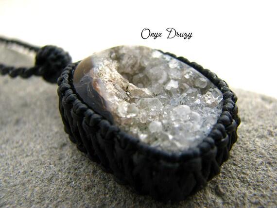 Onyx Crystal Meaning : Reserved onyx druzy necklace gemstone july raw
