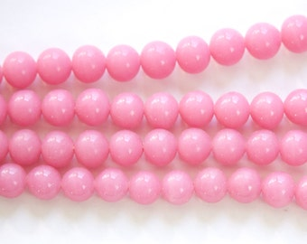 Vintage Opaque Pink Glass Beads Japan 8mm (8) jpn003L