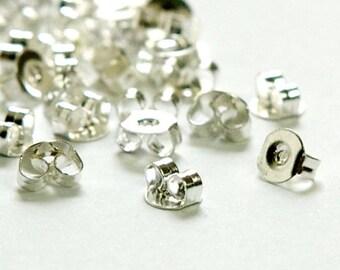 Silver Plated Earnuts Earring Backs Lead Nickel Free (50) fnd023A