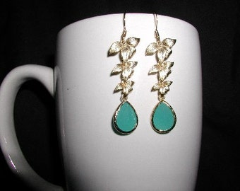 Glass Mint Color Dangle Earrings gold orchid