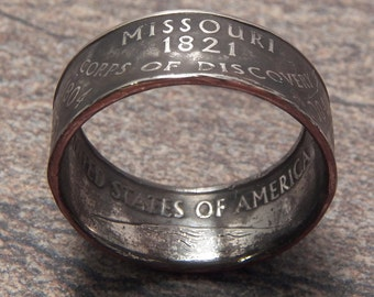 Coin Ring Missouri made from a Copper Nickel Quarter Statehood jewelry great unique gift