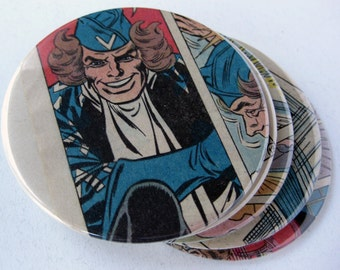 Boomerang Coasters // Recycled Vintage Comic // Set of 5 // Flash Villain