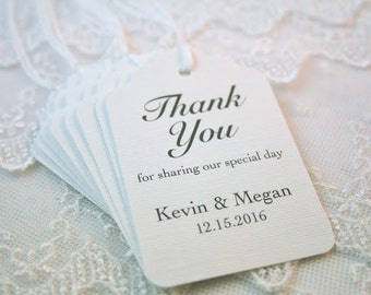 Thank You Wedding Favor Tags White/Black Names and Date Personalized