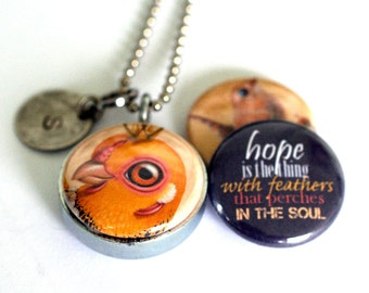 HOPE Locket Necklace, Emily Dickinson Quote, Bird Artwork, Silver Steel, Magnetic Jewelry, 3 in 1, Polarity, Cuddly Rigor Mortis Collection