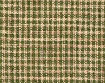 FLAWED Homespun Fabric | Cotton Homespun Fabric | Quilt Fabric | Green And Tea Dye Small Check | 1 Yard