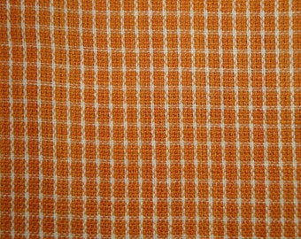Homespun Material | Orange Window Pane Material | Fall Material | Quilt Material | Cotton Material Sold By The Yard | 1 Yard