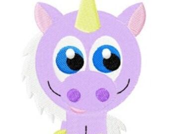 Itty bitty unicorn embroidery design