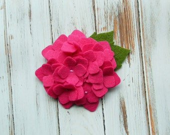 Wool Felt Hydrangea - Fuchsia - Set of 2