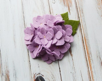 Wool Felt Fabric Flower - Hydrangea - Wisteria - Set of 2
