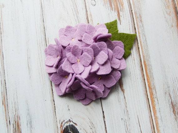 Wool Felt Fabric Flower Hydrangea Wisteria by AMarketCollection