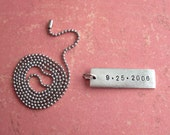 One Word, Date or Name - Skinny Rectangle Plus Ball-Chain - Customize, Personalize, Monogram, Name Zip code. Skinny Rectangle Tag, Antiqued