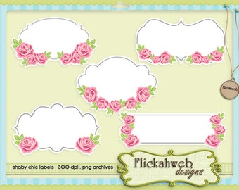 shabby chic labels set cliparts commerical use clip art label printable instant download romantic roses
