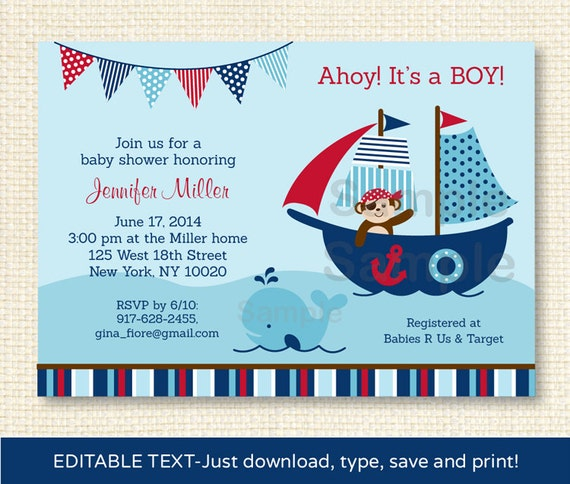Pirate Whale Baby Shower Invitation INSTANT DOWNLOAD Editable PDF By Little Prints Inc.