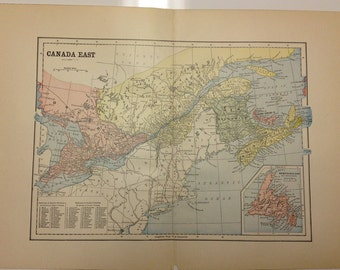 Antique 1897 Eastern Canada Map Nantucket Martha's Vineyard Tuckernuck