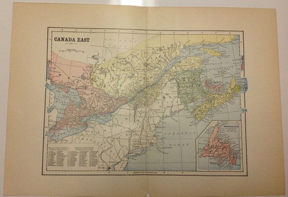 Antique 1897 Eastern Canada Map Nantucket Martha's Vineyard Tuckernuck