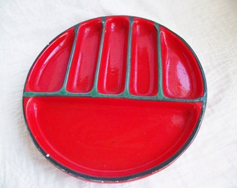Vintage Majolica Plate - Grill - Fondue - Made in Italy - Mid Century - Red Pottery Divided Dish