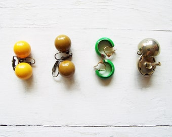 Vintage Clip Earrings - Choice of Mustard Yellow, Olive Brown, Kelly Green or Silver Dome