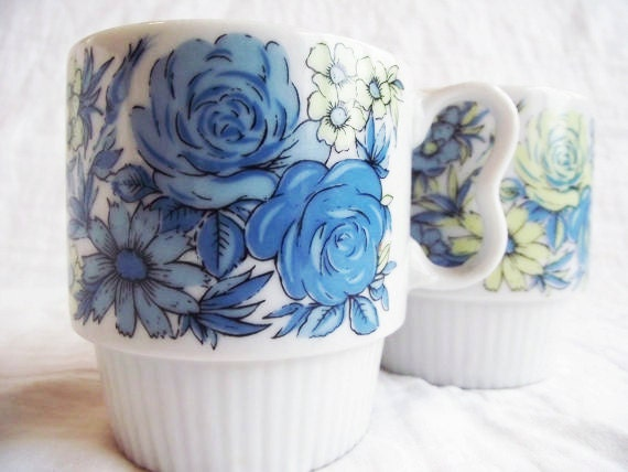 Vintage Porcelain Mugs - Japan - Blue Roses