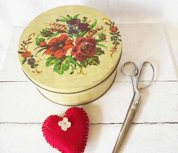 Vintage Tin - Round Needlepoint Pattern - Large - Sewing Box or Cake Tin