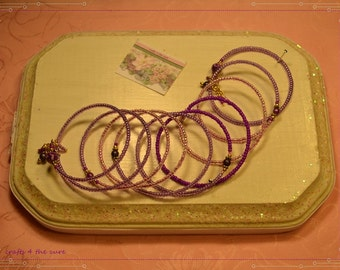 Extra Small Pink-Purple and Gold Memory Wire Bracelet