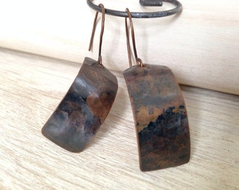 Rustic Copper Earrings Artisan Handmade Jewelry Hammered Earrings Metalwork Copper Jewelry Bohemian Jewelry San Diego California USA