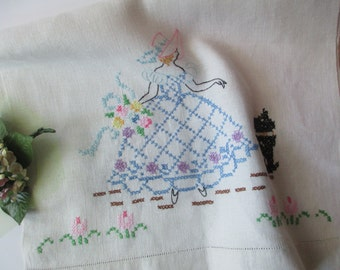 Vintage Lovely Lady and Pup Cross Stich Table Runner - Cottage Chic