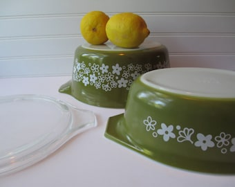 Pyrex Spring Blossom Green White Casserole Pair - Retro Vintage