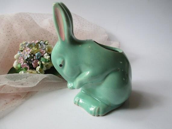 Sweet Vintage Aqua Pink Ceramic Bunny Planter