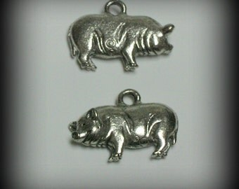 4 Pig or Sow Charms - Silver Pewter (qb48) - New Charm