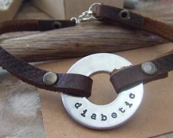 Medical Alert Bracelet, Medical Leather Bracelet, Personalized Medical Bracelet, Diabetic Bracelet, Allergies Bracelet, Pacemaker Bracelet
