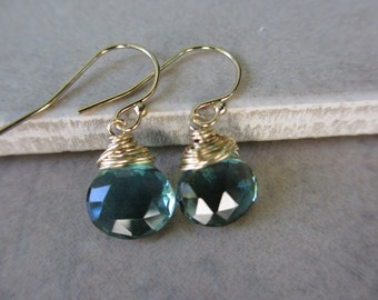 Teal Earrings, Gold, Paraiba Quartz, Indicolite,  Wire Wrapped, Small, Lightweight, Irisjewelrydesign