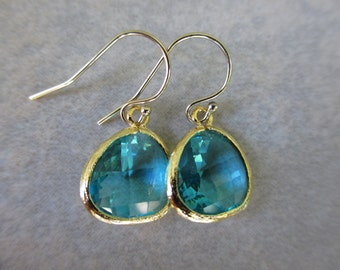 Sea Green Earrings, Gold, Teal, Drop, Nautical Earrings, Everyday Earrings, Irisjewelrdesign