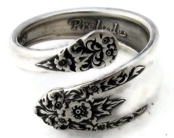 Sterling Silver Demitasse Spoon Ring Size 4 to 8 Prelude International