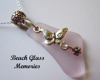 Lavender Sea Glass Necklace -Butterfly Seaglass - Beach Glass Jewelry Pendant Necklace
