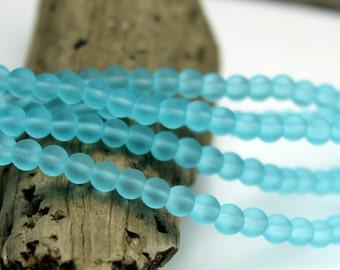 Glass mm Sea blue Beads 6 mm