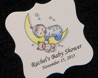 Personalized Baby Shower Favor Tags, baby boy on moon, set of 20