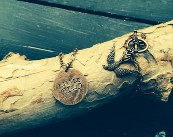 Necklace Hand Hammered little BIRD jewelry copper coin CHOOSE your WORDs