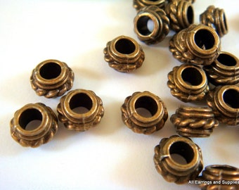 10 Antique Bronze Spacer Donut Beads Large Hole Rondelle 8x5mm LF/CF/NF - 10 pc - M7052-AB10
