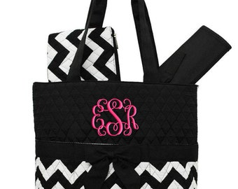 Personalized Diaper Bag Chevron Black Quilted Monogrammed