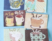 Patterned Coffee Cup Notecards - Set of Six