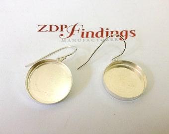 4pcs of Round 18mm  Sterling Silver 925  Bezel Earrings For Setting  (ERD181)