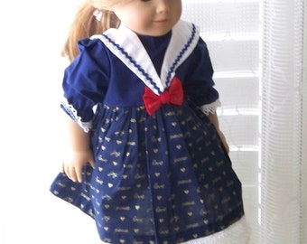 Handmade Doll Dress fits 18 inch dolls Old fashioned Christmas Sailor dress